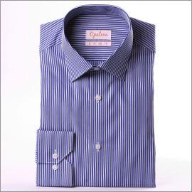 Chemise à rayures blanches et bleu foncé