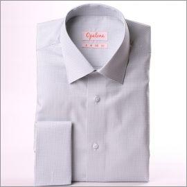 Chemise à carreaux Vichy gris et blancs et poignets mousquetaires