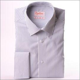 Chemise à poignets mousquetaires blanche à rayures bleu foncé