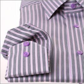 Chemise à rayures bleu marine, blanches et mauves
