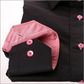 Chemise noire à col et poignets à motifs géométriques roses