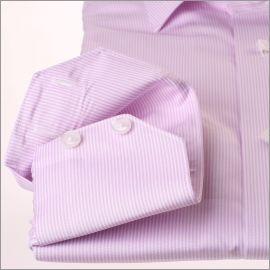 Chemise à fines rayures mauves et blanches