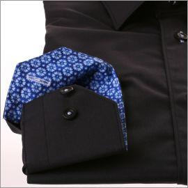 Chemise noire à col et poignets à motifs fleuris bleus