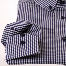 Chemise col boutonné à carreaux Vichy bleu marine et blancs