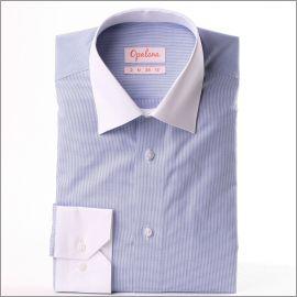 Chemise à petits carreaux pied de poule bleus et blancs, col et poignets blancs