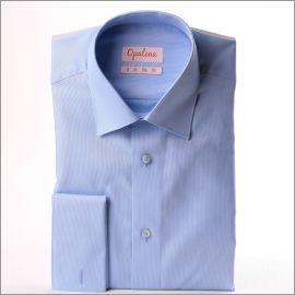 Chemise bleu clair à poignets mousquetaires tissu oxford