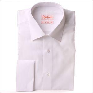 Chemise blanche à poignets mousquetaires tissu Pin point