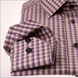 Chemise à carreaux beiges, gris, marrons et violets