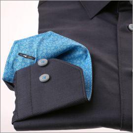 Chemise gris foncé à col et poignets à motifs fleuris bleus