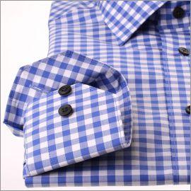Chemise à carreaux bleu roi et blancs