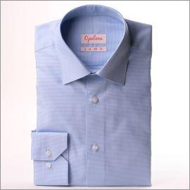 Chemise à mini carreaux pied de poule bleus et blancs