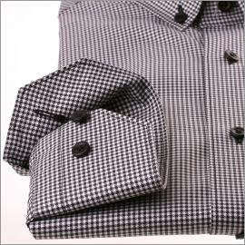 Chemise à col boutonné à petits carreaux pied de poule noirs et blancs