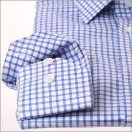 Chemise à larges carreaux bleu moyen et blancs