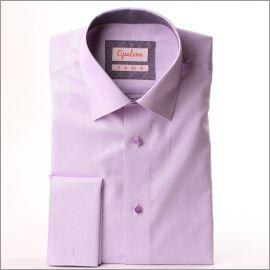 Chemise mauve à col et poignets mousquetaires à motifs violets