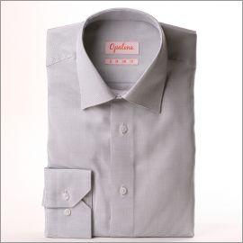 Chemise tissu natté blanc et gris clair