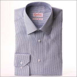 Chemise tissu natté bleu marine et blanc