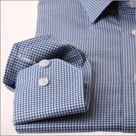 Chemise à carreaux pieds de poule blancs et bleu canard