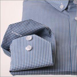 Chemise à carreaux pieds de poule blancs et bleu canard et col boutonné