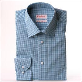 Chemise à carreaux vichy bleu-vert et blancs