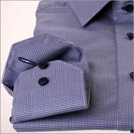 Chemise à motifs mini carreaux bleu foncé