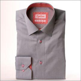 Chemise grise à col et poignets rose à motifs corail