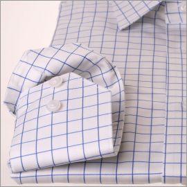 Chemise blanche à gros carreaux bleu
