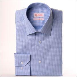 Chemise à texture nattée bleu ciel et bleu moyen