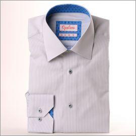 Chemise à fines rayures grises à col et poignets à motifs étoiles bleues