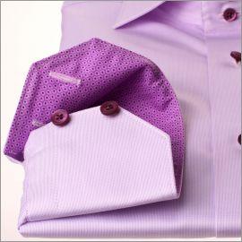 Chemise lilas à col et poignets à motifs gouttes lilas