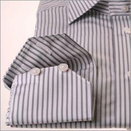 Chemise à rayures blanches et grises