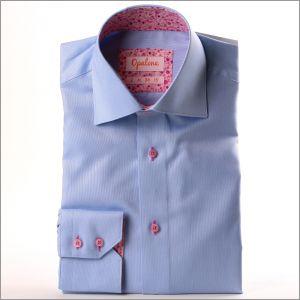 Chemise oxford bleue à col et poignets fleuri mauve