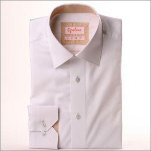 Chemise blanche à col et poignets à motifs beiges et bleus