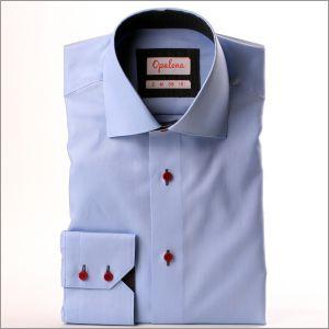 Chemise bleue moyen à col et poignets à motifs gris