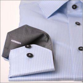 Chemise à petits carreaux bleus à col et poignets gris