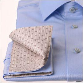 Chemise bleu à col et poignets gris à pois gris