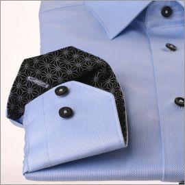 Chemise bleue à col et poignets noirs à motifs gris