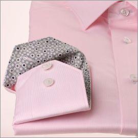Chemise rose à col et poignets gris à bulles