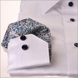 Chemise blanche à col et poignets fleuris bleu marine