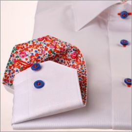 Chemise blanche à col et poignets fleuris multicolore