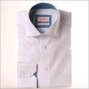 Chemise blanche oxford à col et poignets à losanges turquoise