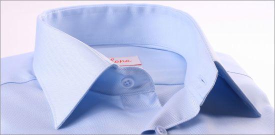 Chemise bleu clair tissu twill à poignets mousquetaires