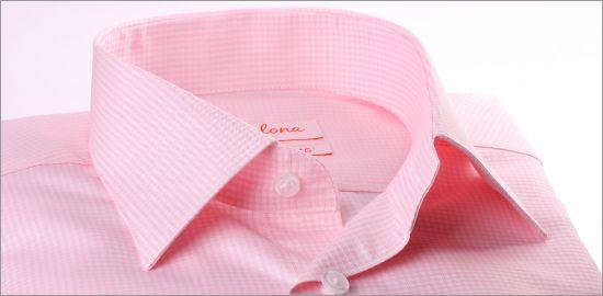 Chemise à carreaux Vichy roses et poignets mousquetaires