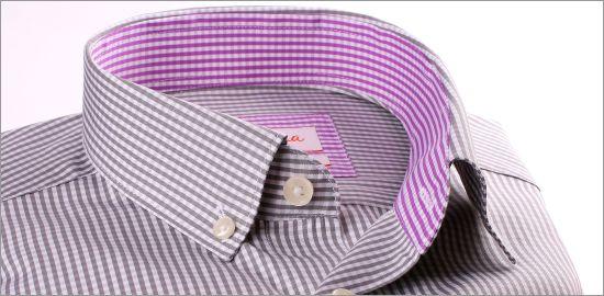 Chemise à carreaux gris et blancs, col et poignets à carreaux mauves