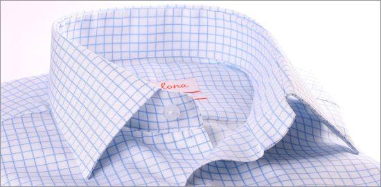 Chemise blanche à carreaux bleu clair