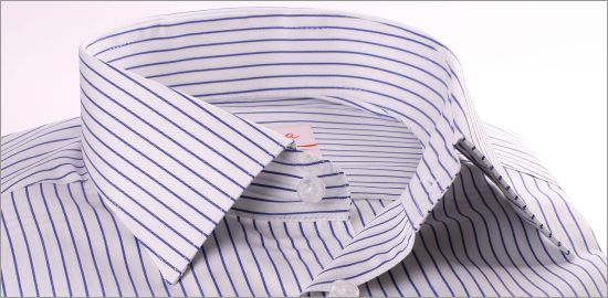 Chemise blanche à rayures bleu foncé