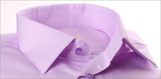 Chemise mauve à poignets mousquetaires, tissu gabardine