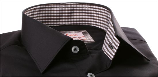 Chemise noire à col et poignets à carreaux Vichy