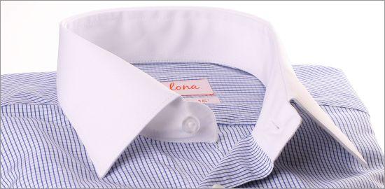 Chemise blanche à petits carreaux bleus, col et poignets blancs