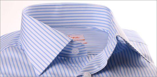 Chemise à rayures blanches et bleu clair