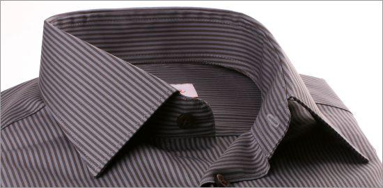 Chemise à rayures grises et marrons